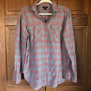 J. CREW CLASSIC BUTTON UP PLAID SHIRT RED GRAY 12